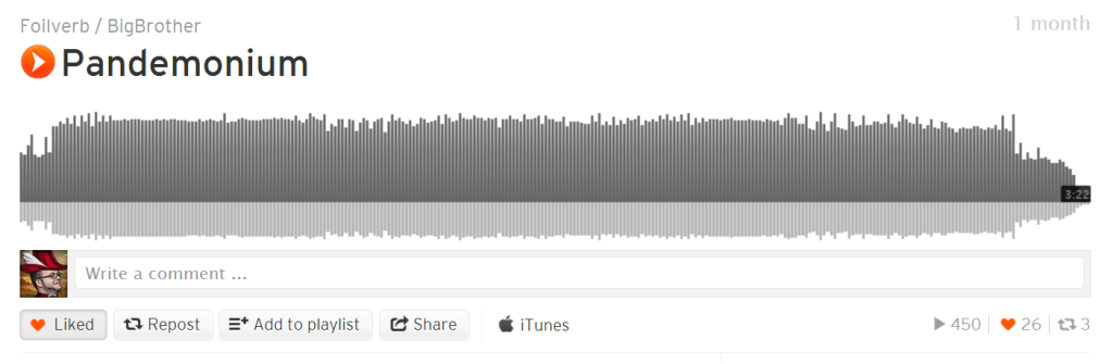 A single track in SoundCloud. Note the sharing buttons at bottom left and status icons at bottom right.